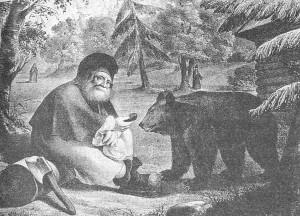 Литография 1856 года Старец Серафим, кормящий медведя