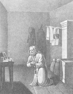 Литография 1876 года Кончина Серафима пред иконой Божией Матери