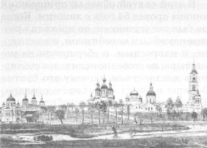 Литография 1876 года Саровская пустыня с северной стороны