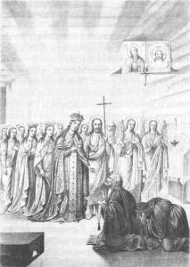 Литография 1878 года Явление Пресвятой Богородицы прп. Серафиму в день Благовещения