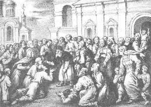 Литография 1885 года Старец Серафим, благославляющий народ